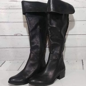 Vince Camuto Leather Over Knee Studded Boots sz 10